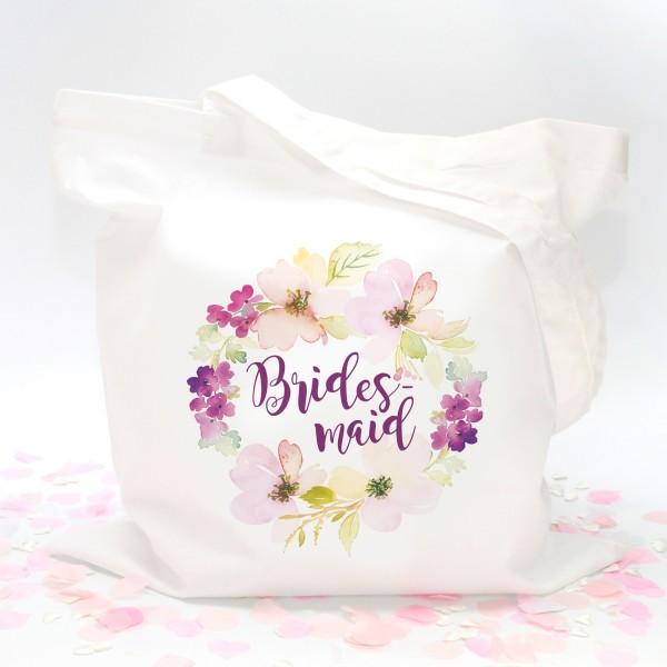 """Stofftasche """"Weiß"""" Flower Bridesmaid (38x42cm)"""