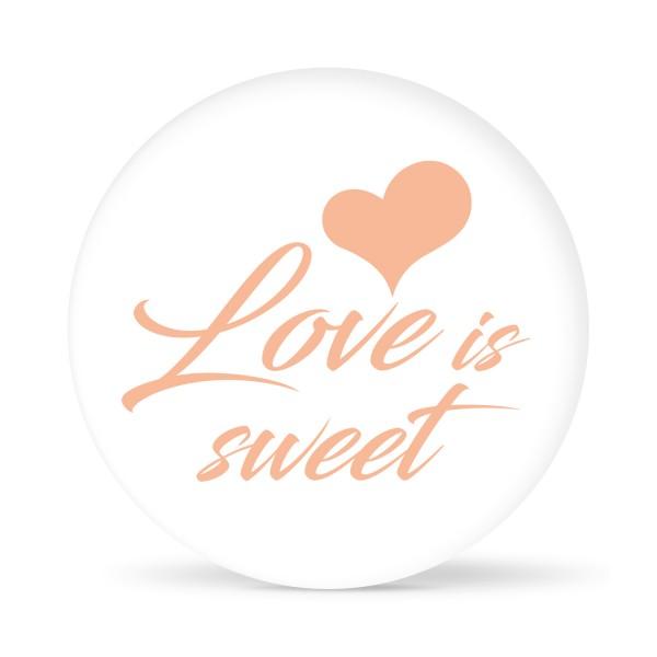 """Aufkleber """"Love is Sweet"""" weiß (24 St.)"""