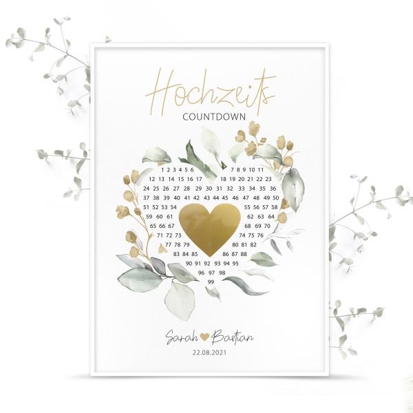 """Poster Countdown mit Rubbelherz """"Gold"""" - personalisiert"""