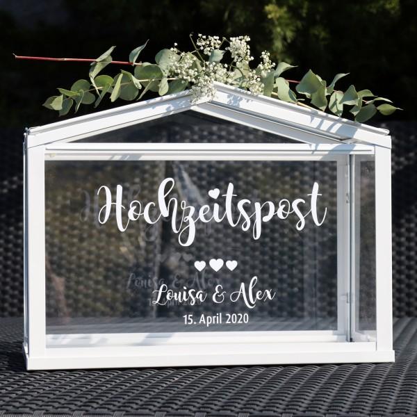 """Aufkleber """"Hochzeitspost"""" Louisa - personalisiert in 3 Farben"""