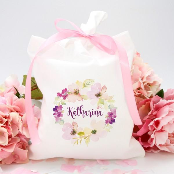 """Stofftasche """"Weiß"""" Flower (22x26cm) - personalisiert"""