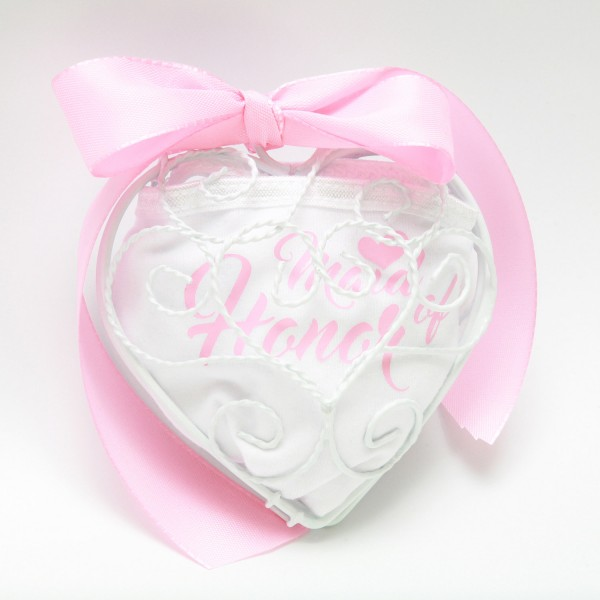 "Geschenkset Drahtherz ""Maid of Honor"" Rosa"