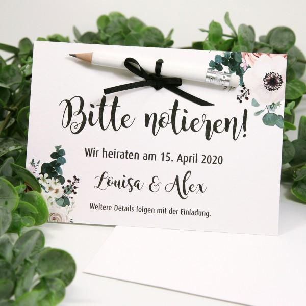 """Save the Date Karte """"Louisa"""" (12 St.) - personalisiert mit Bleistift & Umschlag"""