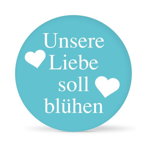 """Aufkleber """"Unsere Liebe soll blühen"""" farbig (24 St.) in 13 Farben"""