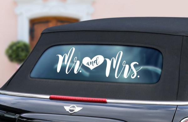 """Auto-Aufkleber """"Mr. & Mrs."""" Herz in 3 Größen"""