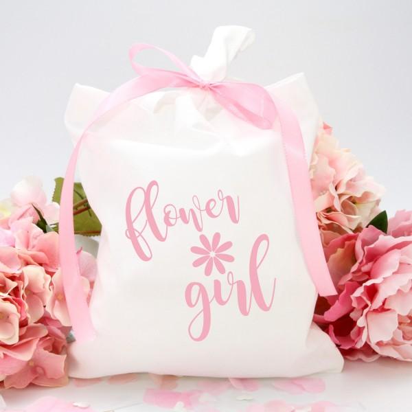 """Stofftasche """"Weiß"""" flowergirl (22x26cm)"""
