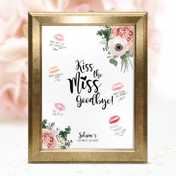 "Poster Kiss the miss Goodbye ""Louisa"" - personalisiert"