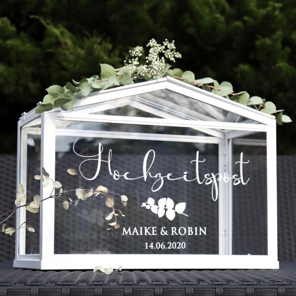 """Aufkleber """"Hochzeitspost"""" Maike - personalisiert in 3 Farben"""