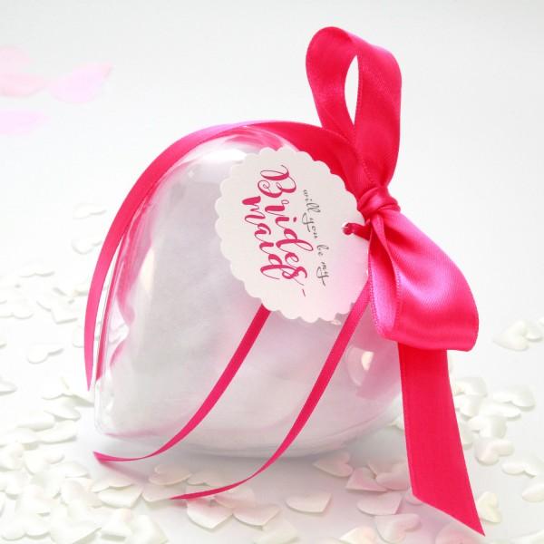 """Geschenkset Acrylherz """"Bridesmaid"""" Pink"""