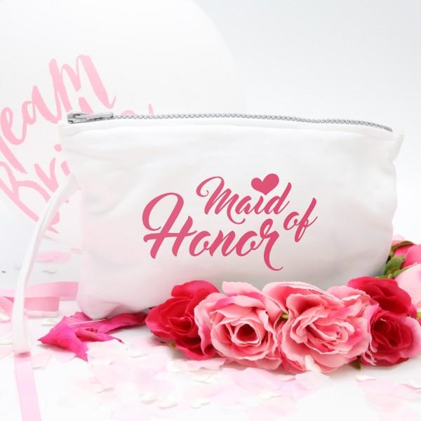 "Kosmetikbeutel ""Weiß"" Maid of honor in 3 Farben"