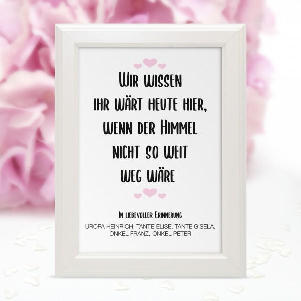 """Poster Erinnerung """"Wir wissen ..."""" - personalisiert"""