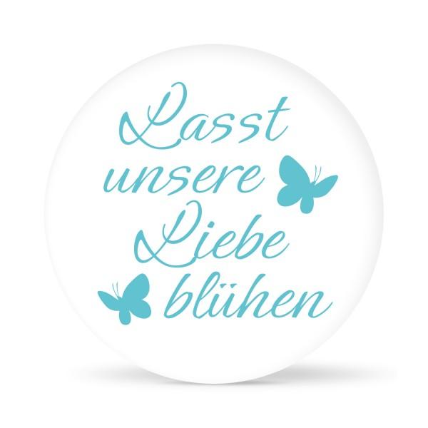 """Aufkleber """"Lasst unsere Liebe blühen"""" weiß (24 St.) in 13 Farben"""
