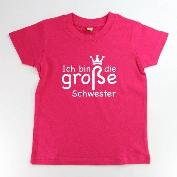 """T-Shirt """"Ich bin die große Schwester"""" in 3 Farben"""