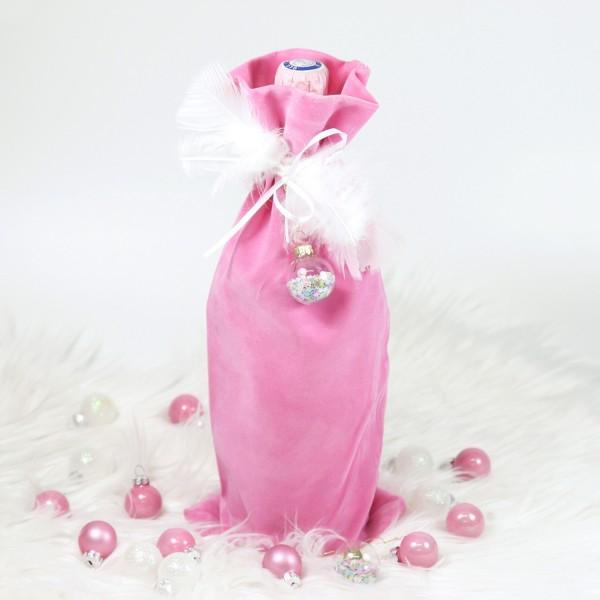 """Samtbeutel für Flaschen """"Rosa"""" 16 x 37cm"""