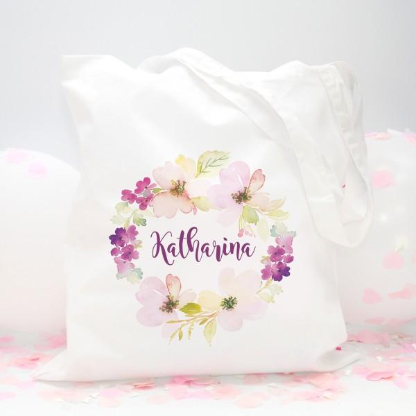 """Stofftasche """"Weiß"""" Flower (38x42cm) - personalisiert"""