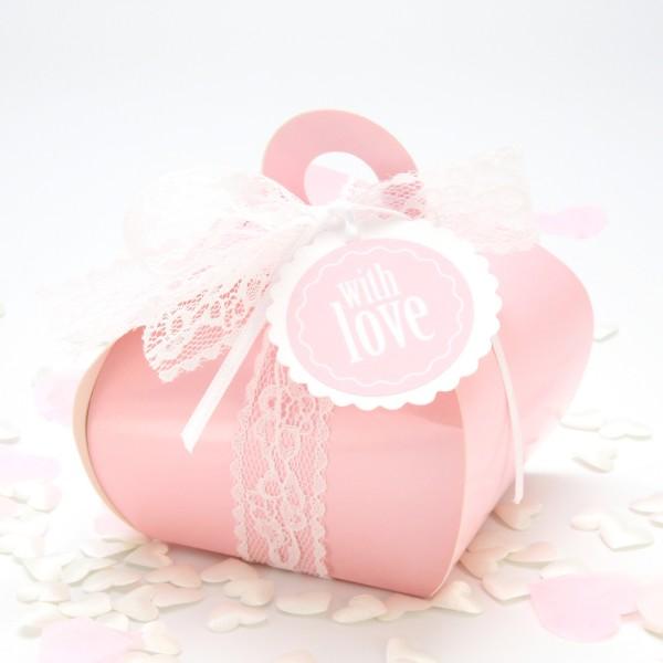 """Geschenkbox mit Griff """" Rosa"""""""