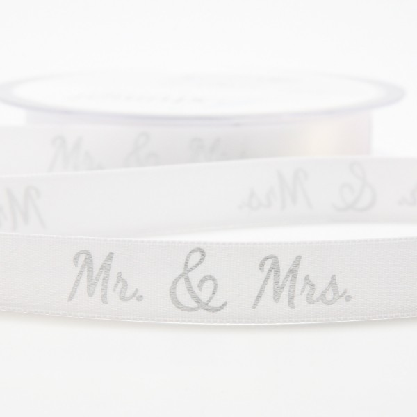 "Dekoband ""Mr. & Mrs."" silber (15mm) - 20m"