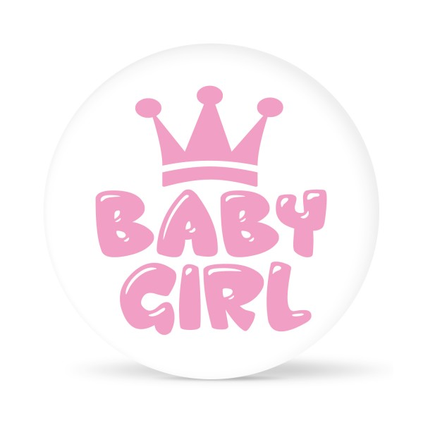 "Aufkleber ""Baby Girl"" Weiß-Rosa (24 St.)"