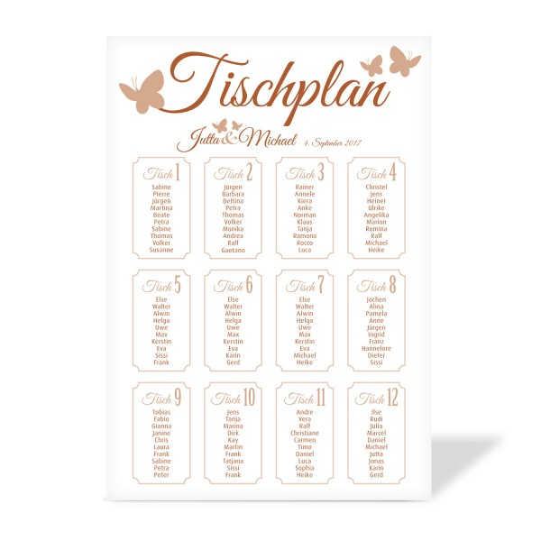 """Tischplan """"Jutta"""" in 8 Farben"""
