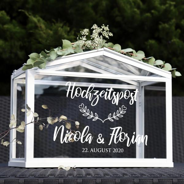"""Aufkleber """"Hochzeitspost"""" Nicola - personalisiert in 3 Farben"""