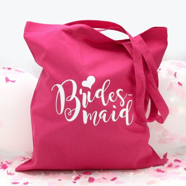 """Stofftasche """"Pink"""" Bridesmaid (38x42cm) in 2 Farben"""