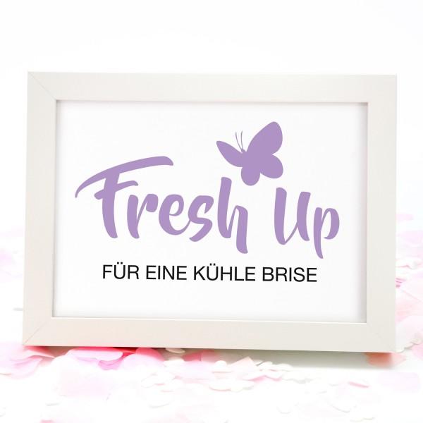 """Fächer-Schild """"Fresh Up ..."""" 18x13cm - in 8 Farben"""