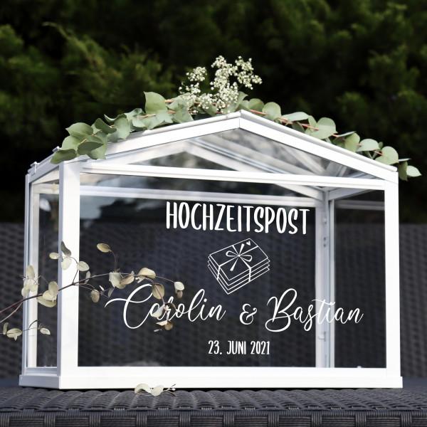 """Aufkleber """"Hochzeitspost"""" Carolin - personalisiert in 3 Farben"""