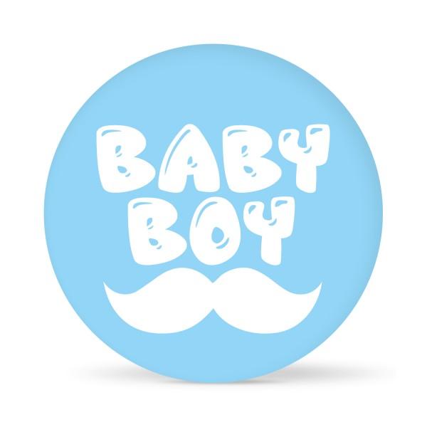 """Aufkleber """"Baby Boy"""" Hellblau-Weiß (24 St.)"""