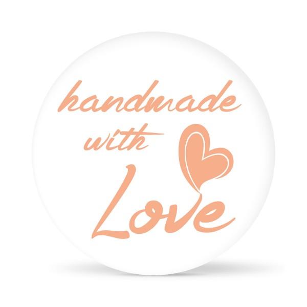 """Aufkleber """"handmade with Love"""" weiß (24 St.)"""