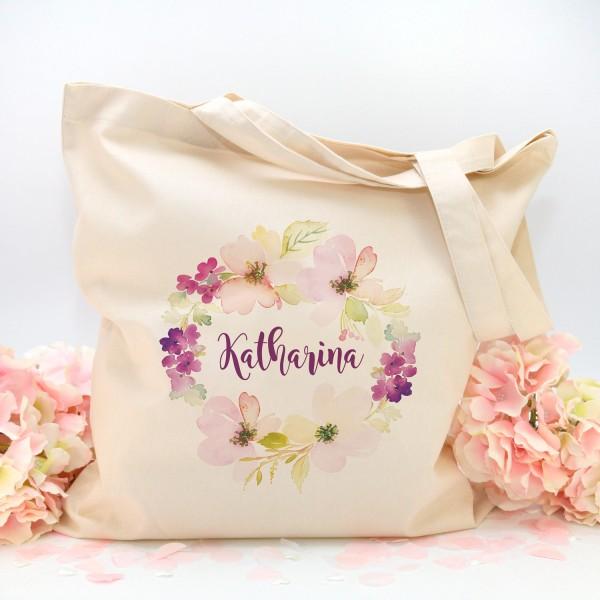 """Stofftasche """"Natur"""" Flower (38x42cm) - personalisiert"""