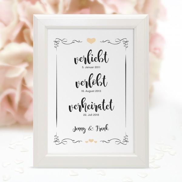 """Poster """"verliebt-verlobt-verheiratet"""" - Jenny in 10 Farben"""
