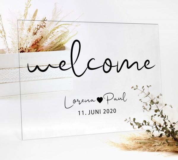 "Aufkleber ""Welcome"" Lorena - personalisiert in 3 Farben"