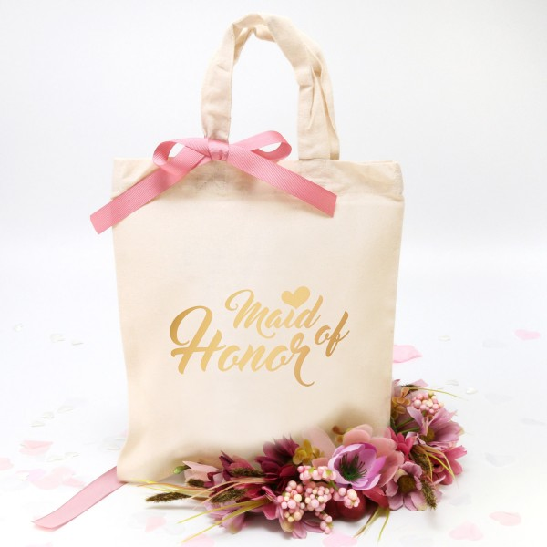 "Stofftasche ""Natur"" Maid of Honor (22x26cm) in 4 Farben"
