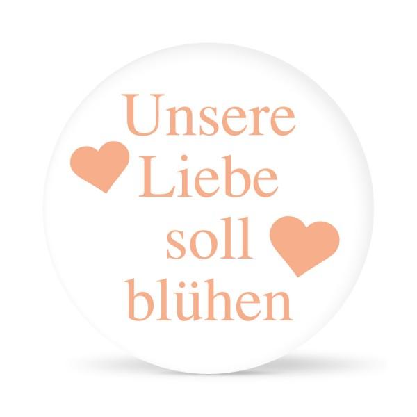 """Aufkleber """"Unsere Liebe soll blühen"""" weiß (24 St.) in 13 Farben"""