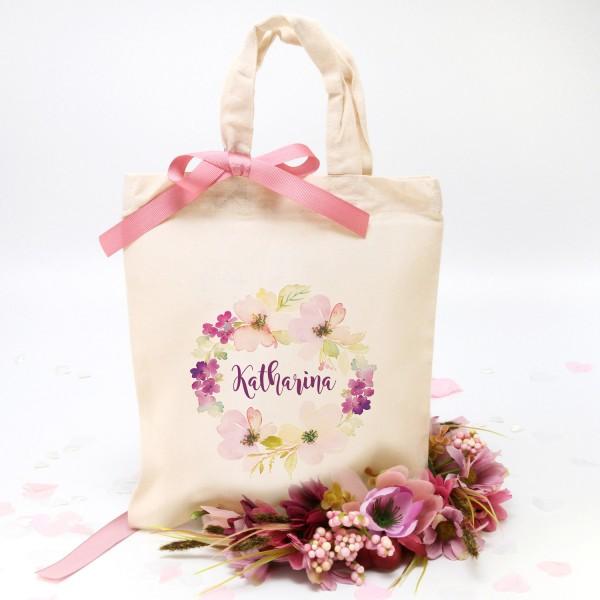 """Stofftasche """"Natur"""" Flower (22x26cm) - personalisiert"""