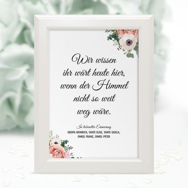 """Poster Erinnerung """"Wir wissen ... Blumen"""" - personalisiert"""