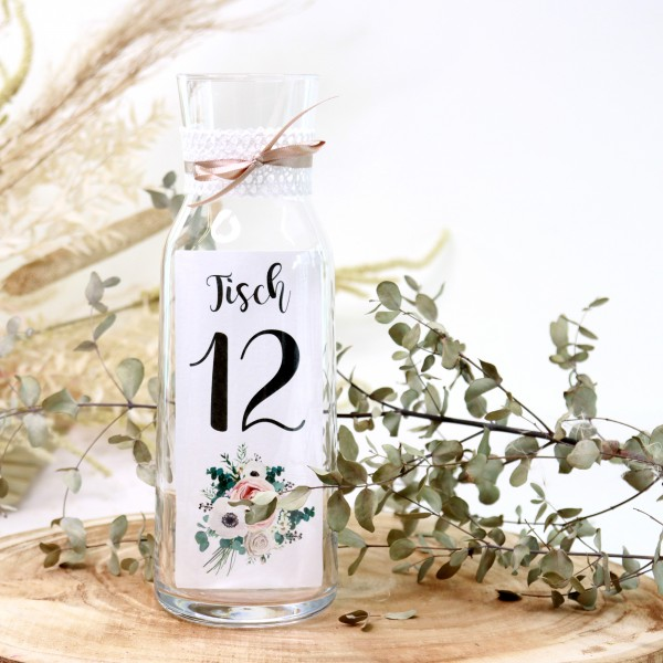 """Tischnummer """"Louisa"""" Glasdeko (Nr. 1-12)"""
