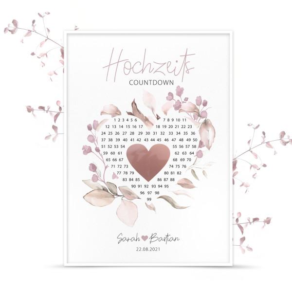 """Poster Countdown mit Rubbelherz """"Rosé"""" - personalisiert"""