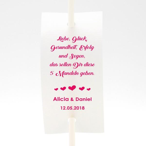 """Anstecker-Set """"Liebe, Glück ..."""" (6 St.) in 13 Farben - personalisiert"""
