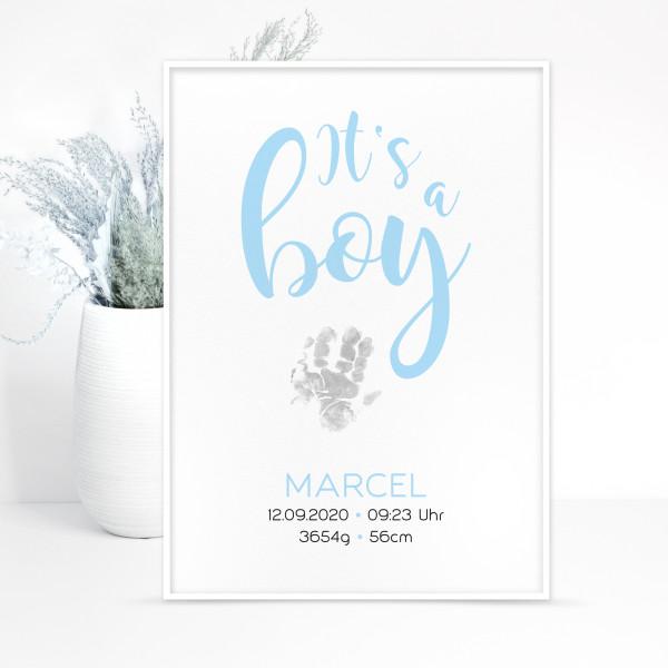 """Geburtsposter """"It's a boy"""" - Hand- u. Fußabdruck, personalisiert in 2 Größen"""