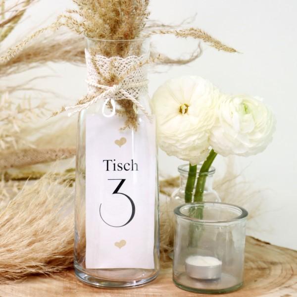 """Tischnummer """"Herz"""" Glasdeko (Nr. 1-12)"""