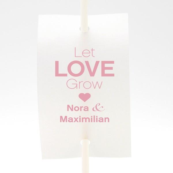 "Anstecker-Set ""Let Love Grow"" - personalisiert (9 St.) in 13 Farben"