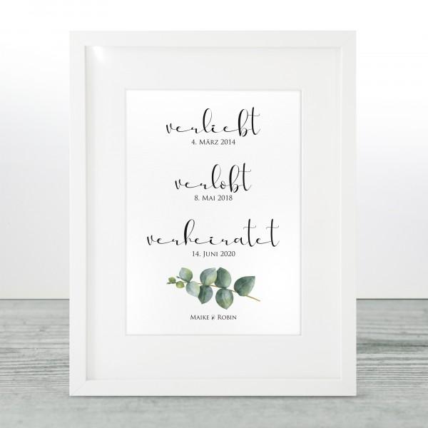 """Poster """"verliebt-verlobt-verheiratet"""" - Maike"""