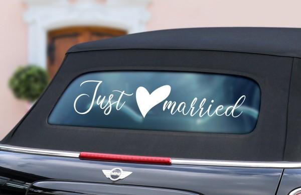 """Auto-Aufkleber """"Just Married"""" Herz in 3 Größen"""