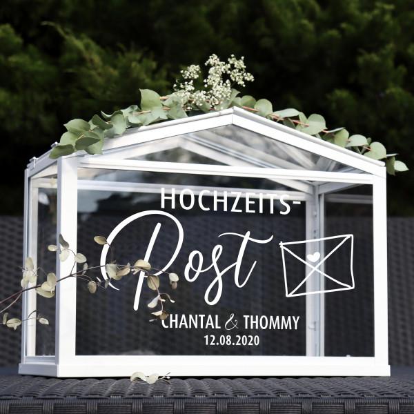 """Aufkleber """"Hochzeitspost"""" Chantal - personalisiert in 3 Farben"""