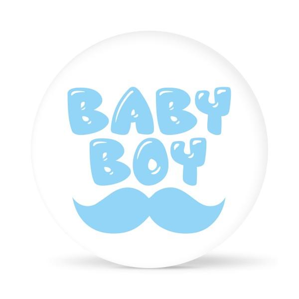"""Aufkleber """"Baby Boy"""" Weiß-Hellblau (24 St.)"""