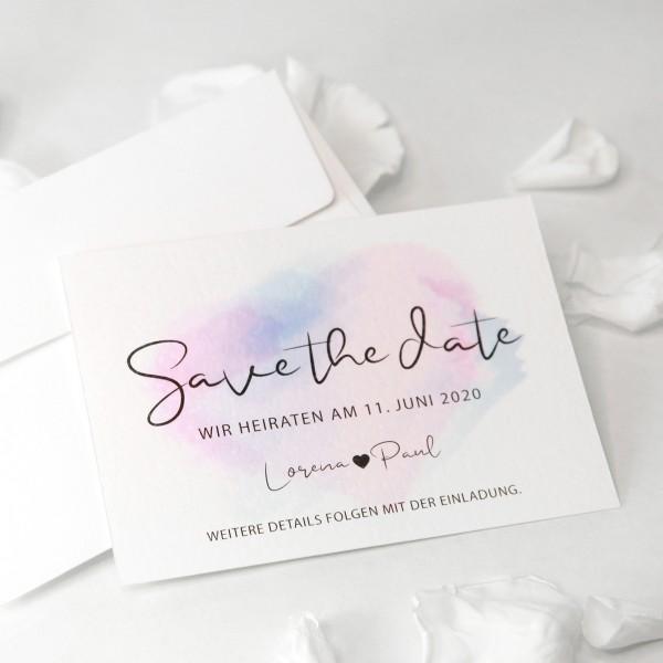 """Save the Date Karte """"Lorena"""" (12 St.) - personalisiert mit Umschlag"""