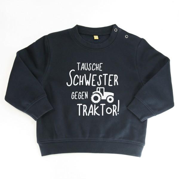 """Sweater """"Tausche Schwester gegen Traktor"""" Dunkelblau"""